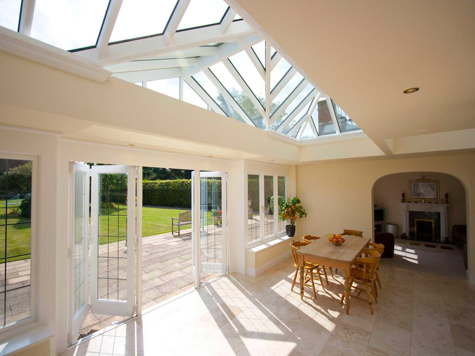 Bifold doors uk premium aluminium hardwood bi folding for Conservatory doors exterior